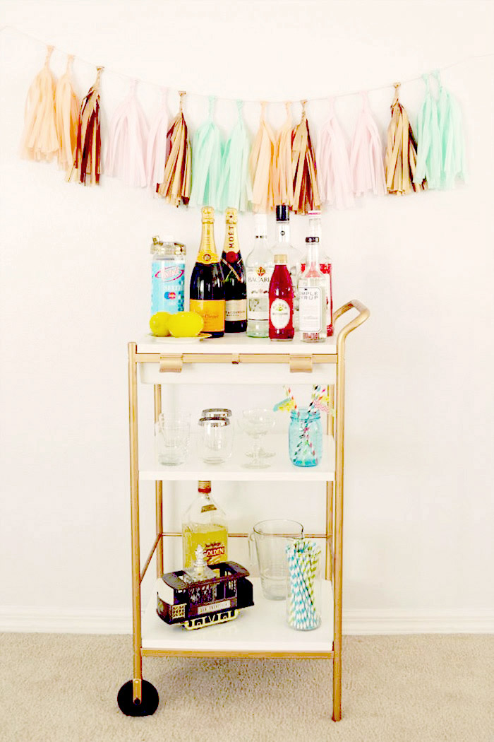 10 Clever IKEA Ideas And Hacks For Weddings - DIY Bar Cart. www.theweddingnotebook.com