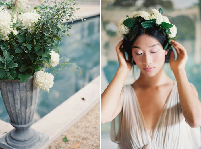 Marie Floral Crown by June Hart. Photo by Laura Gordon Photography. www.theweddingnotebook.com