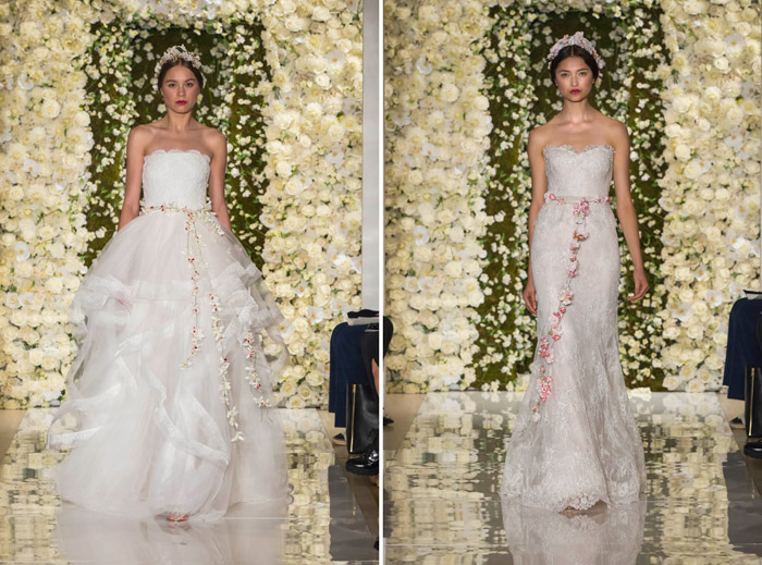 Left: I'm Breathtaking; Right: I'm Beautiful – Reem Acra Fall 2015 Bridal Collection. www.theweddingnotebook.com