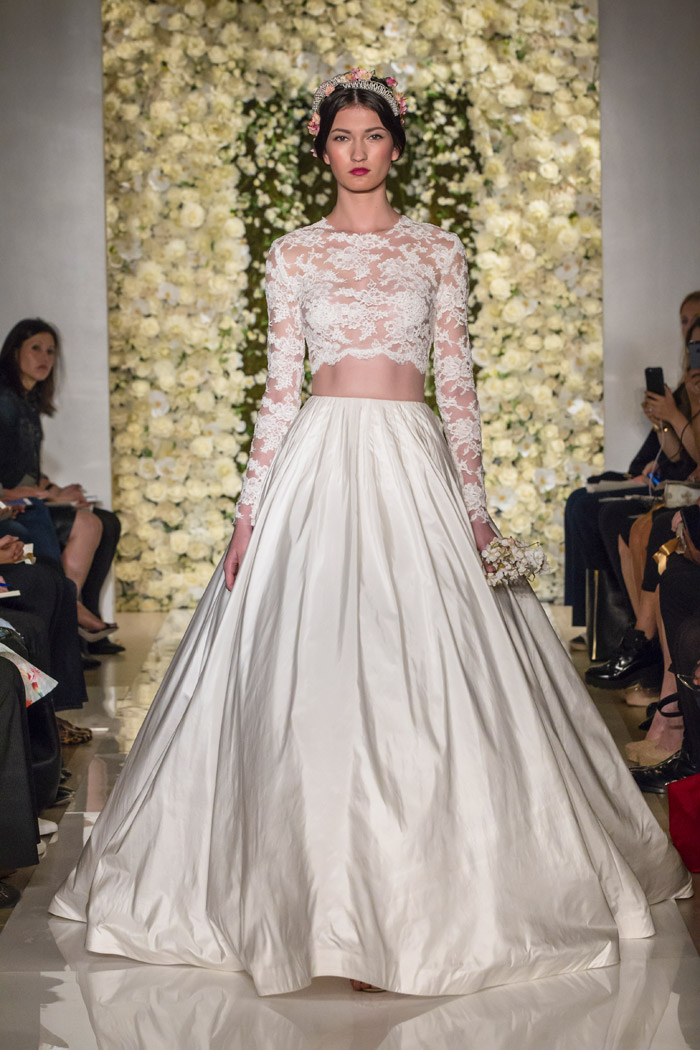 Skirt: I'm Timeless; Top: I'm Special – Reem Acra Fall 2014 Bridal Collection. www.theweddingnotebook.com