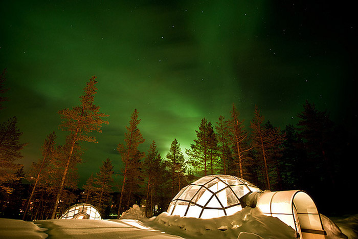 Northern Lights at Glass Igloo Village at Hotel Kakslauttanen, Finland