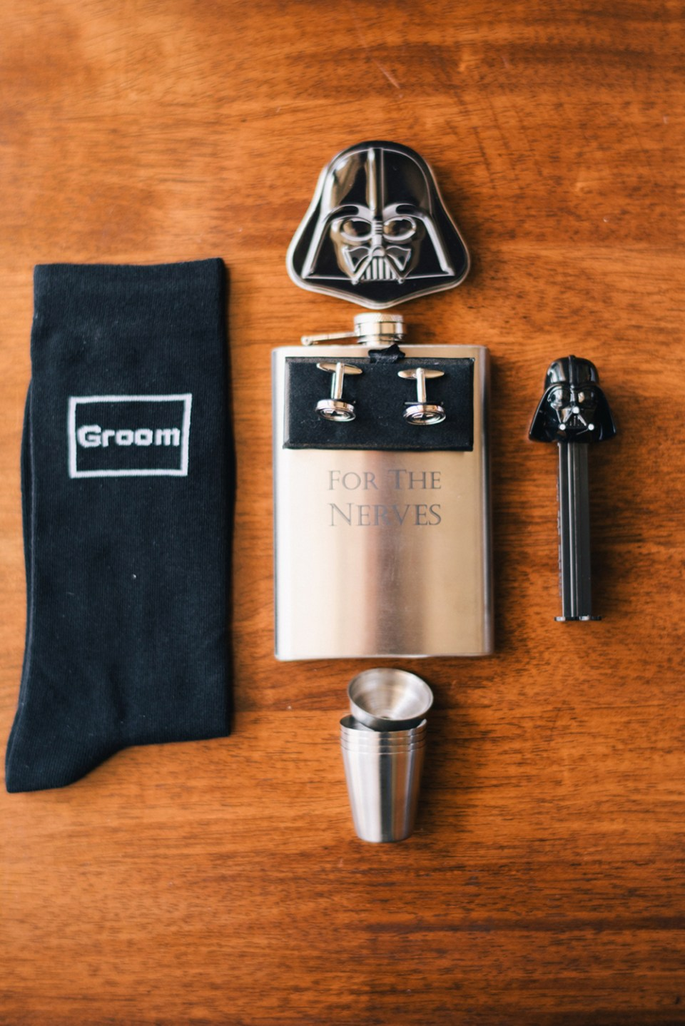 Star Wars products for the groom. Photo by Ben Yew Photography. www.theweddingnotebook.com