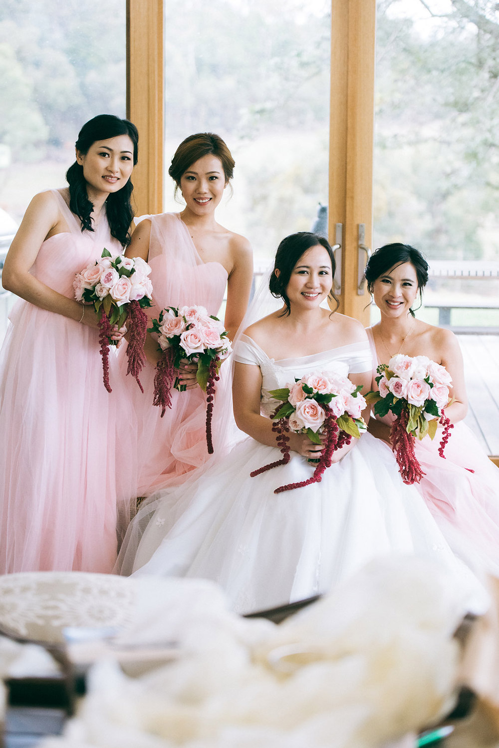 Bridesmaids in blush pink. Dennis Yap Photography. www.theweddingnotebook.com