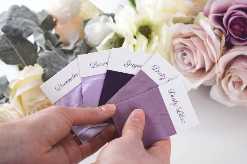 BridesMade purple colour swatches for dresses