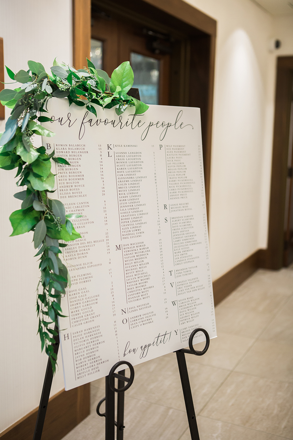beautiful seating chart on an easel with greenery
