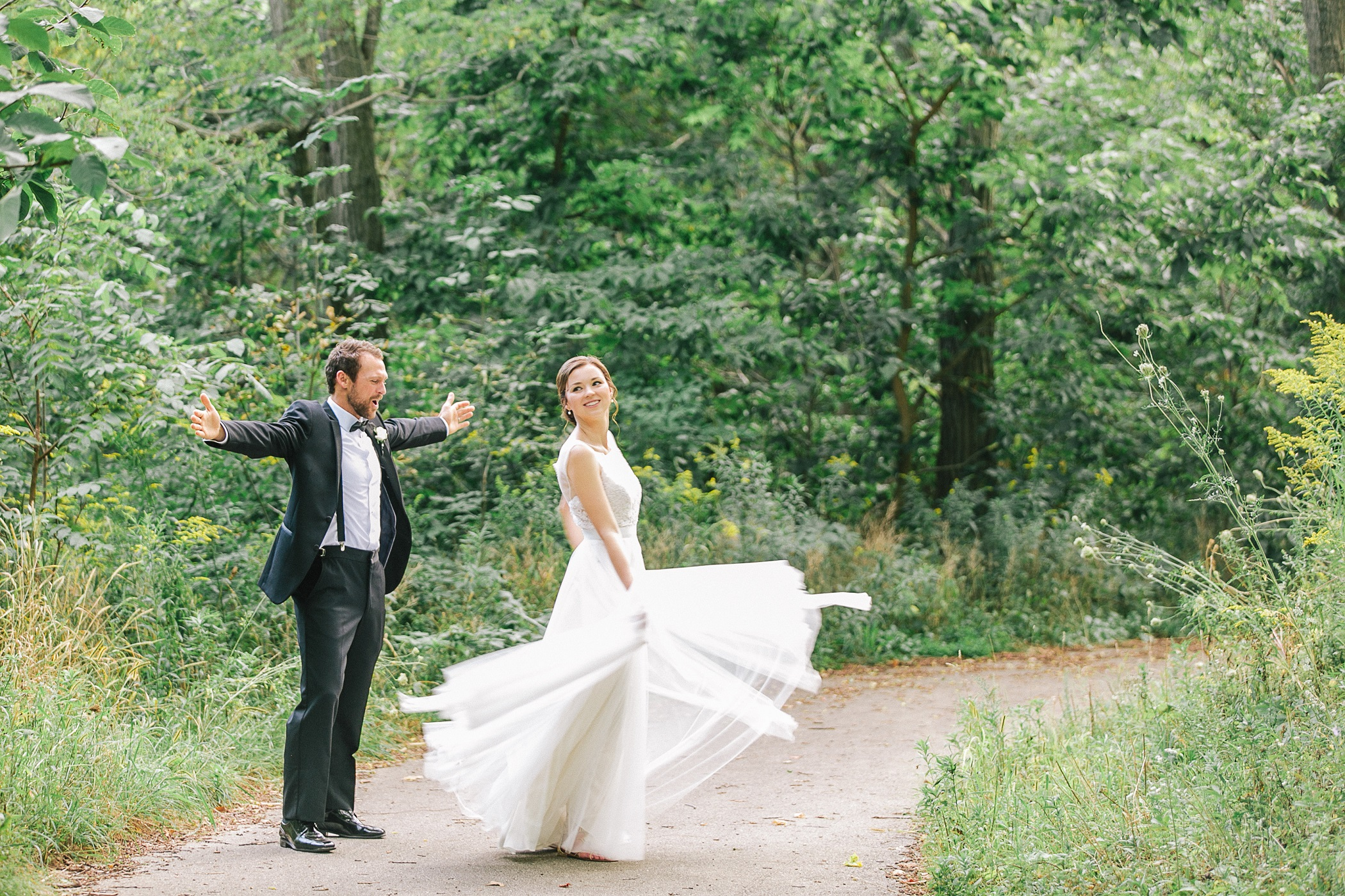 Extra wedding planning time bride and groom dancing in the forest HRM photography unmistakably you