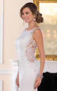 creme couture wedding gown with lace side panels