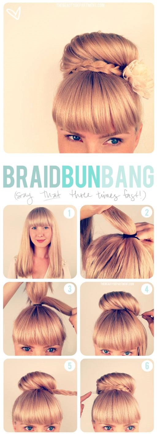 Wedding Hairstyles - Braid Bun Bang