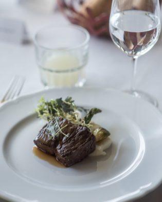 Tajima Beef Sirloin with Red Wine Sauce and Seasonal Vegetables