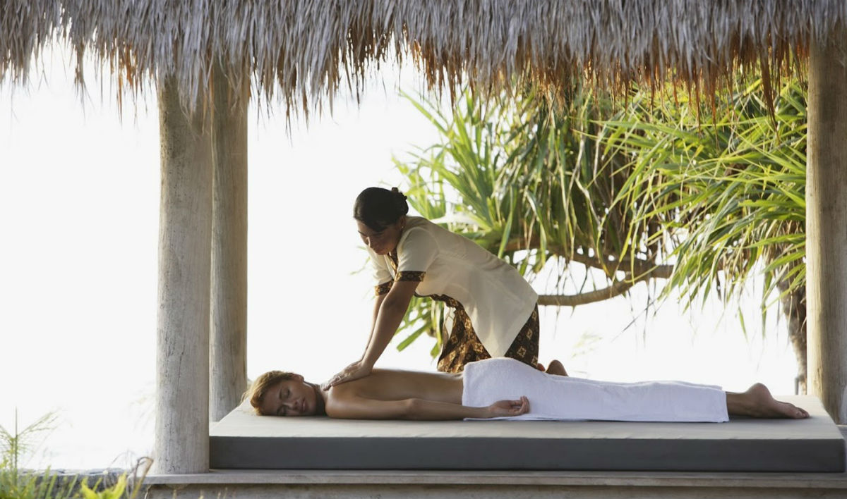 woman having massage in a private sala