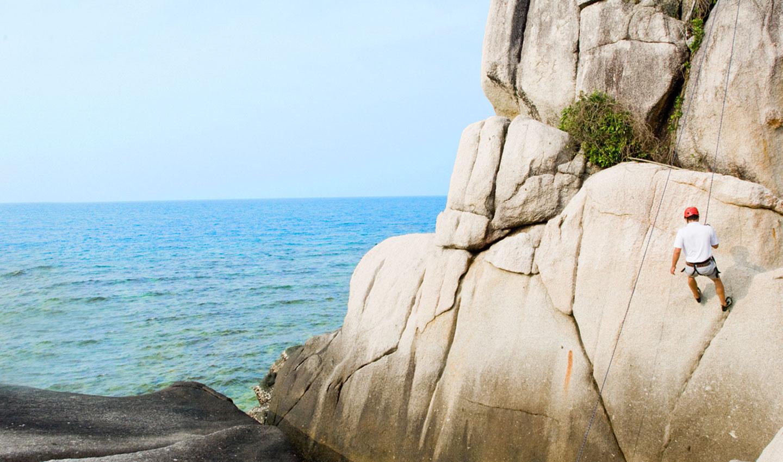 rock climbers on nikoi island