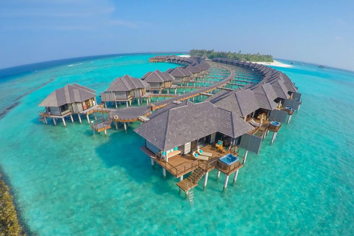 The Sun Siyam Iru Fushi Water Villas Aerial