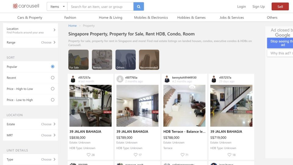 property websites Carousell