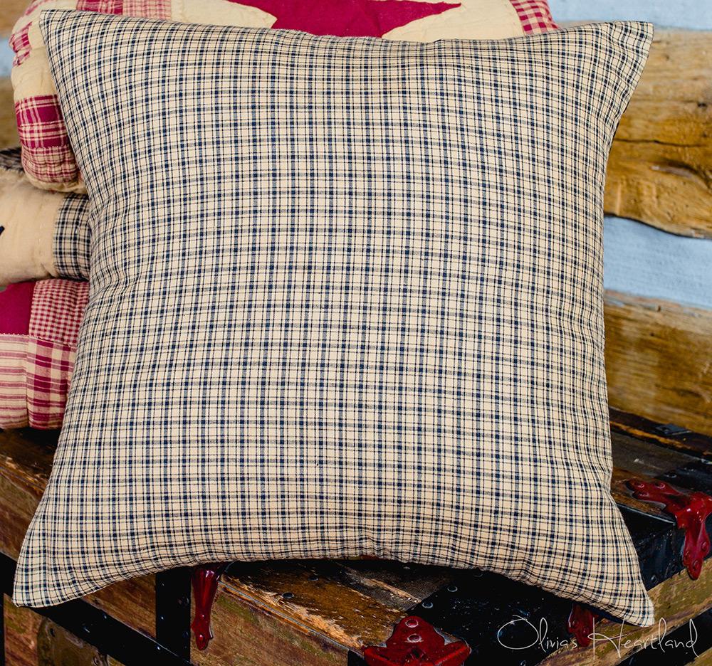 1 black beige plaid primitive pillow