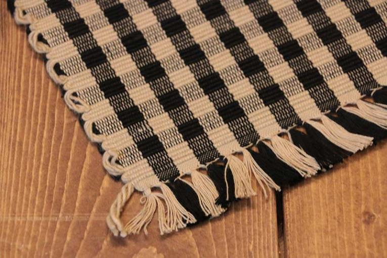 Heritage House Check Black Tablerunner  by Raghu   The Weed Patch     Heritage House Check Black Tablerunner