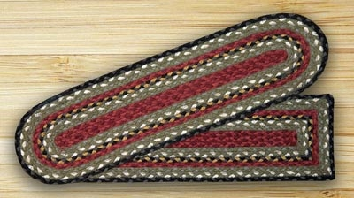 Burgundy Olive And Charcoal Braided Jute Stair Tread By Capitol | Earth Rugs Stair Treads | Christmas Tree | Area Rugs | Rectangle Stair | Jute Fiber | Oval