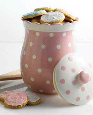 Tea Party Polka Dot Cookie Jar