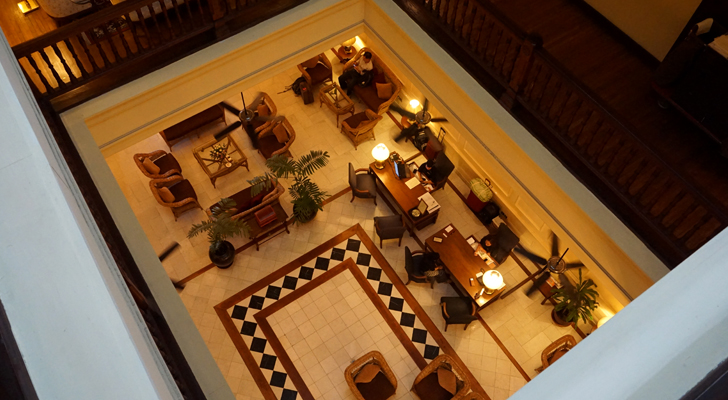 The Strand Hotel Yangon - lobby from the third floor