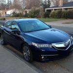 The 2015 Acura TLX has an aggressive exterior design.