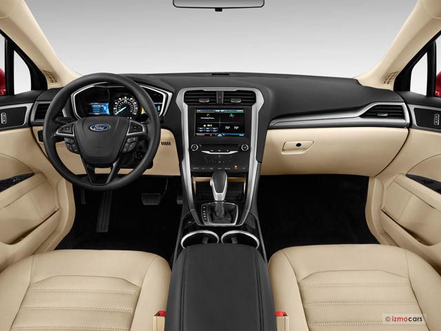 The interior of the 2014 Ford Fusion Hybrid is near luxurious.
