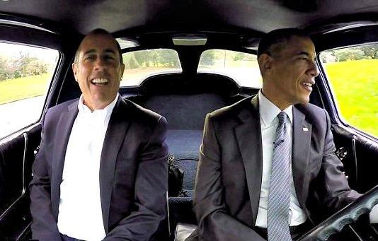 "President Barack Obama was the guest in the seaso opener Jerry Seinfeld's program, ""Comedians In Cars Getting Coffee."" Image Courtesy of Crackle."