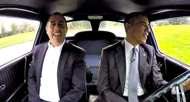 """President Barack Obama was the guest in the seaso opener Jerry Seinfeld's program, """"Comedians In Cars Getting Coffee."""" Image Courtesy of Crackle."""