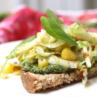 Wednesday Lunch: Sauteed Brussels Sprouts, Shallots and Corn on Pesto Tartine.