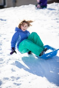 """Abby tried to stand up and """"surf"""" down the hill. Didn't quite make it!"""
