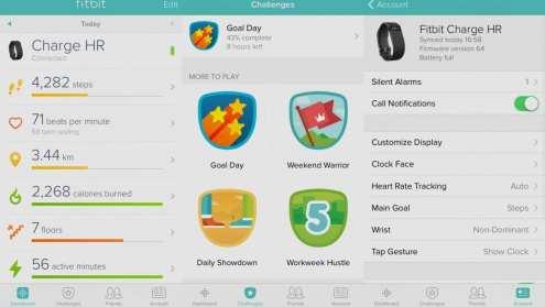 fitbit app screens
