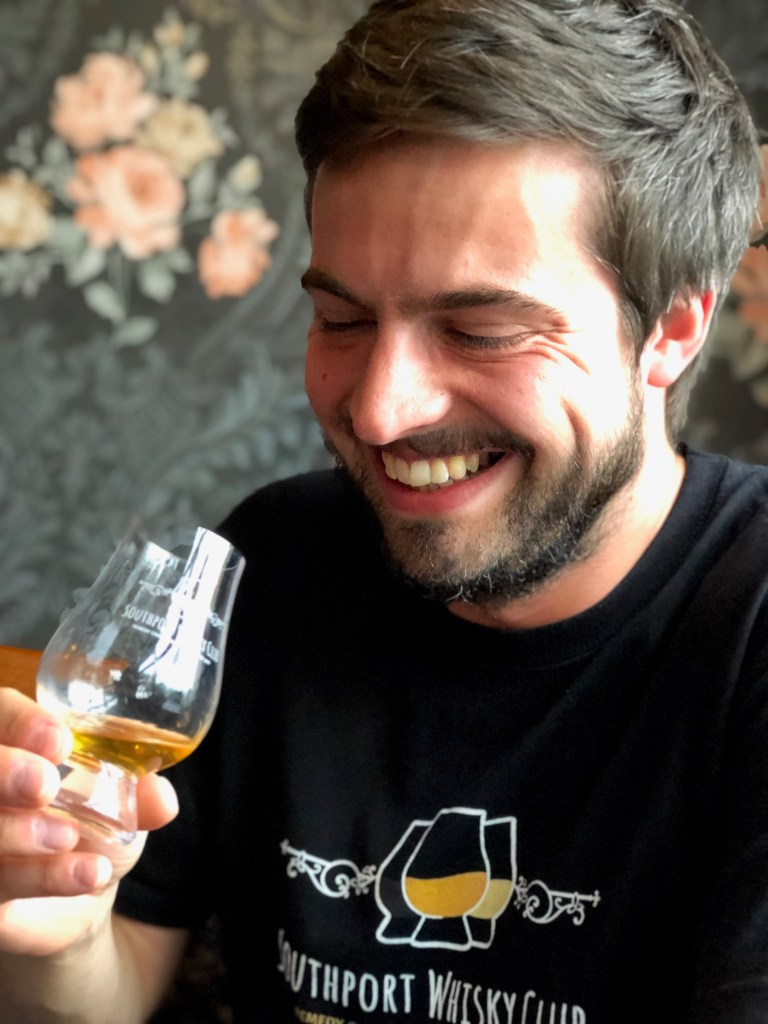 Max Gilbert tasting Whisky at The Southport Whisky Club