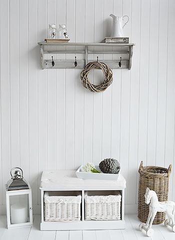 Parisian Grey Wall Shelf With Hooks Four Double Hooks For