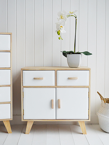 wood and white sideboard with drawers