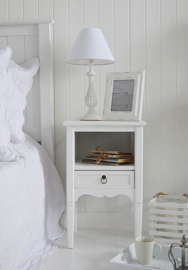 Cove Bay White Bedside Table Beach House Bedroom
