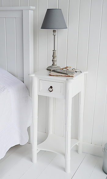 New England White Bedside Table With Drawer The White