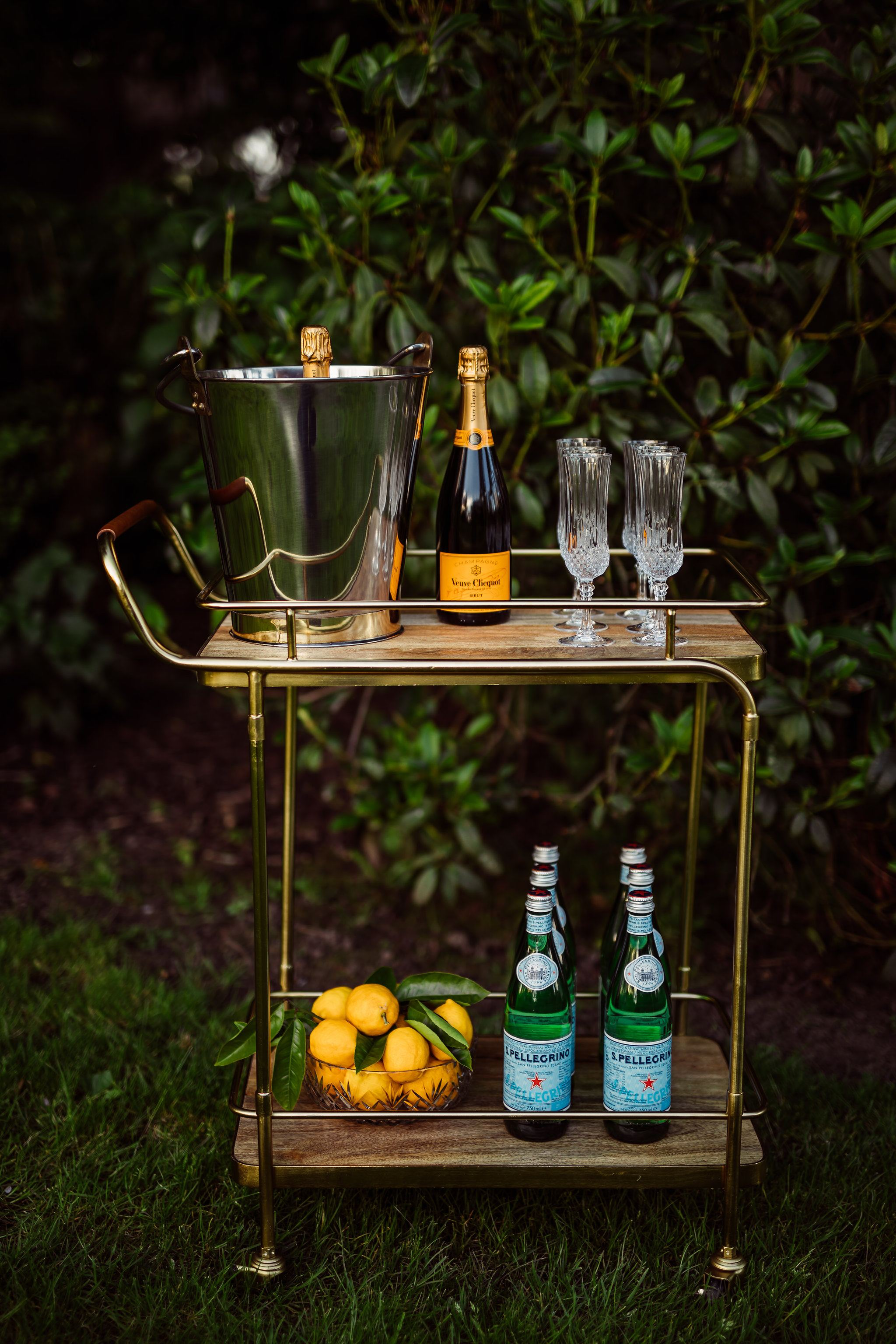 Gold, Wood & Leather Bar Cart.