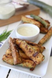 Zucchini Fries + Zesty Ranch Dip from the Whole Smiths. An incredibly light and heart-healthy way to fry up your veggies! Paleo-friendly, vegetarian and gluten-free.