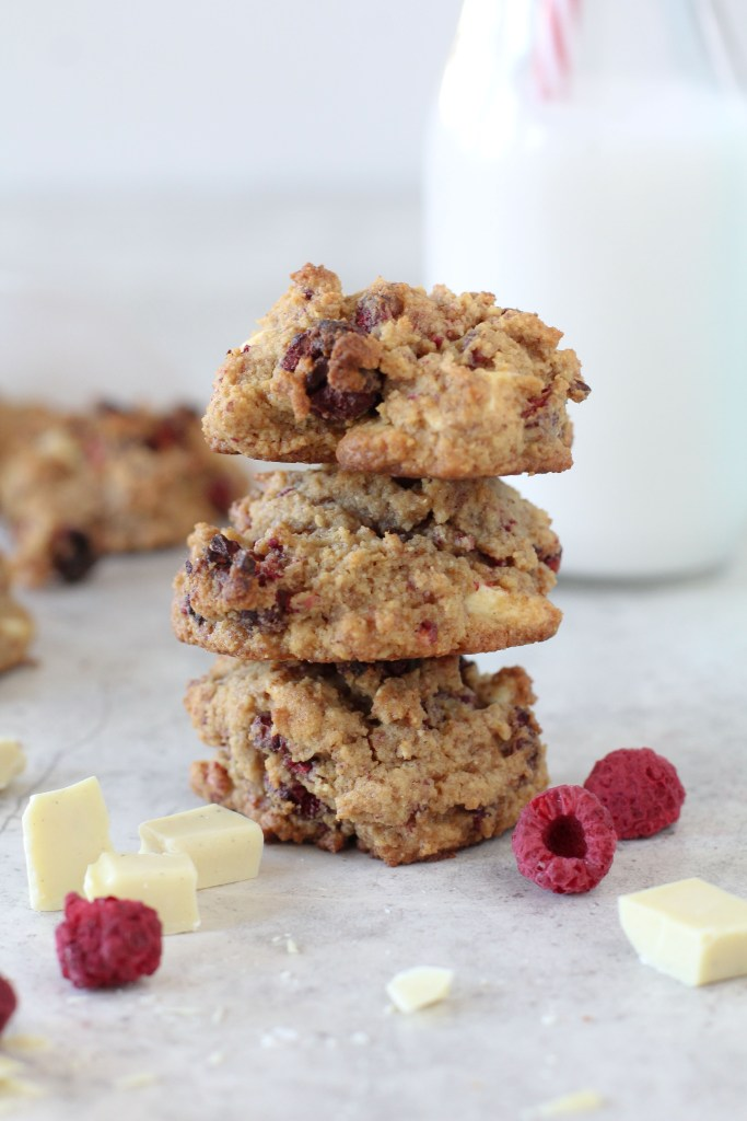 The perfect Grain-Free Raspberry and White Chocolate Chunk cookie for everything. Paleo friendly and gluten free.