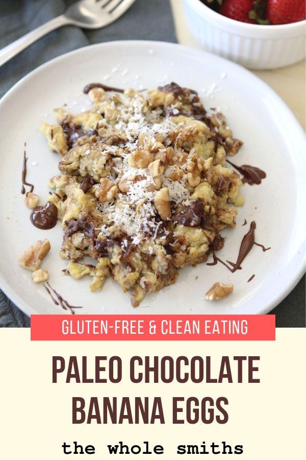 Paleo Chocolate banana eggs pinterest graphic