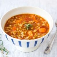 Lentil Barley Soup {Vegan}