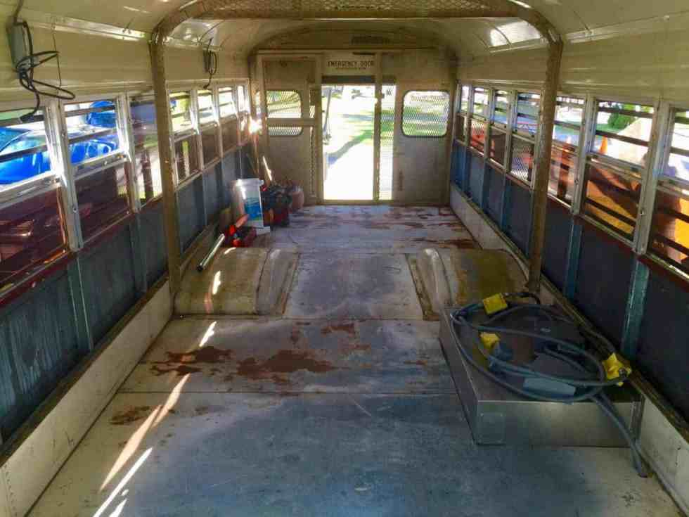 school bus tiny home conversion floor rust treatment