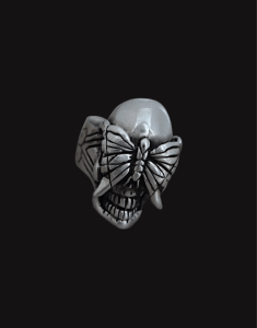 skull and butterfly silver ring