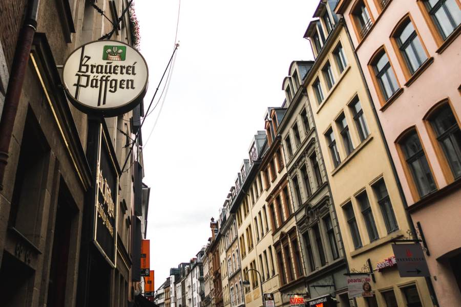 drinking kolsch in Cologne Germany