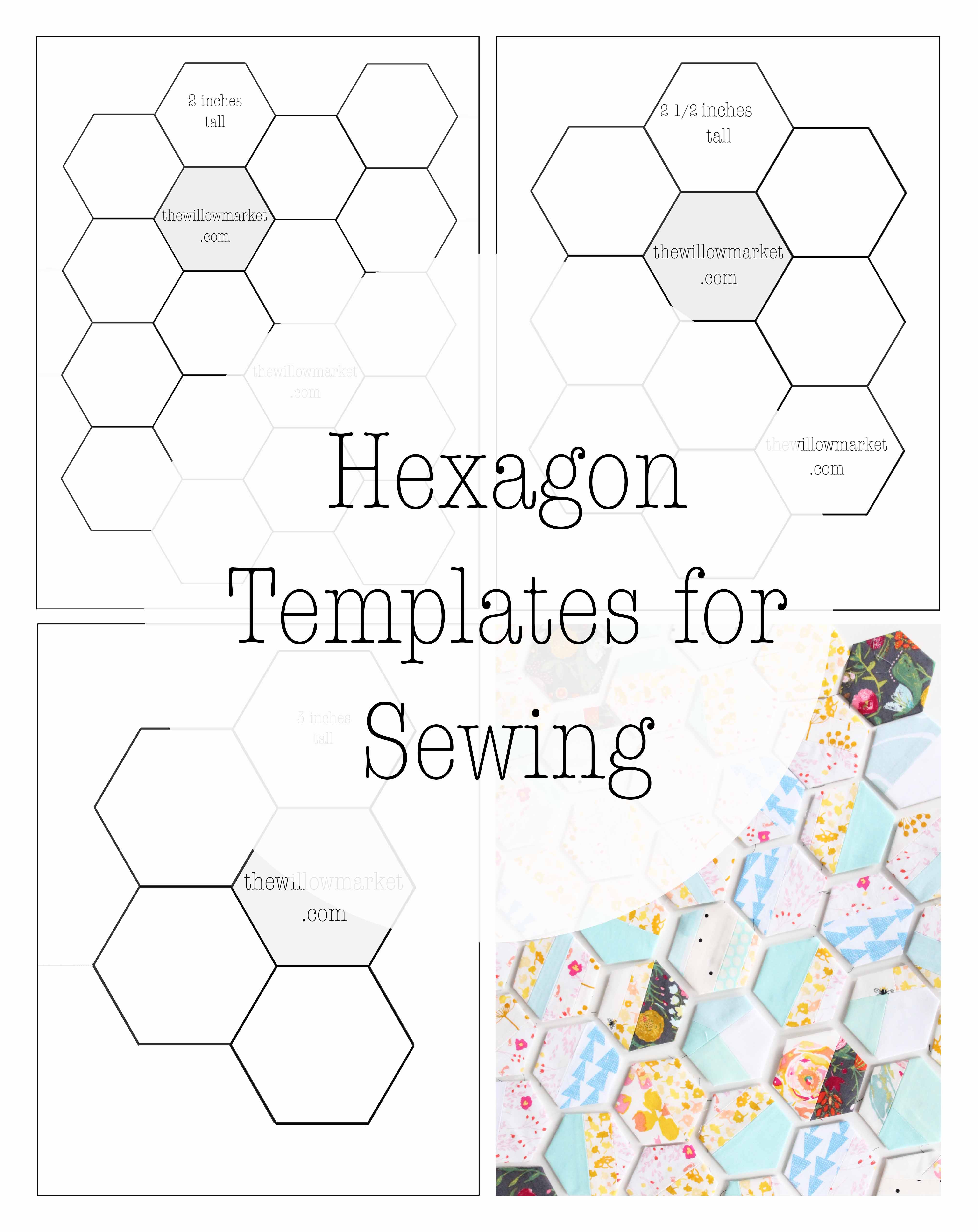 image relating to Printable Hexagon Template titled Hexagon Templates for Sewing a Hexie Quilt 2 Inch, 2 1/2