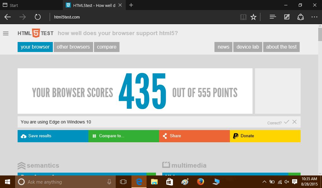 HTML5 score