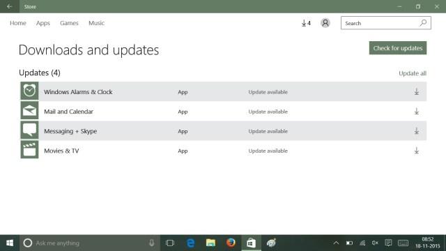 Apps updates