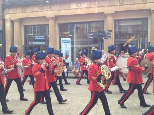 A military marching band in Winchester High Street