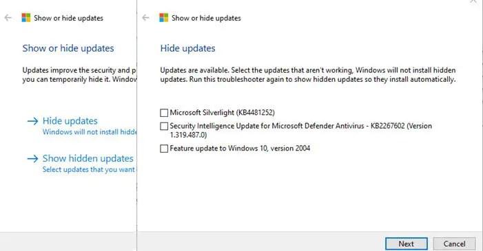 Show Hide Windows 10 Updates