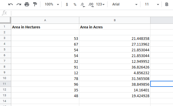 Convert cells between Hectare to Acre in Excel