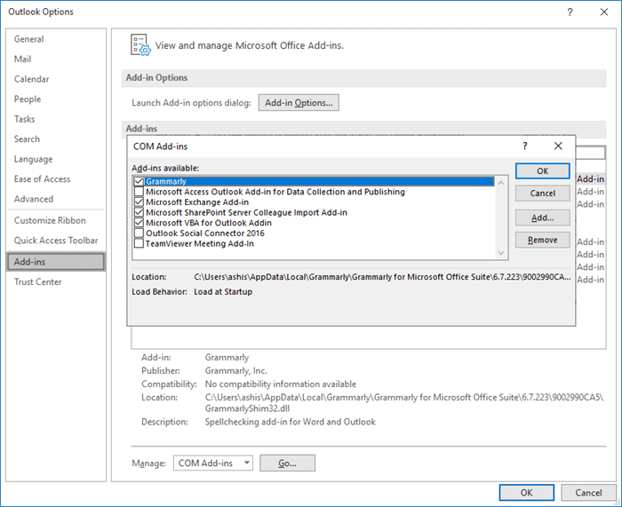 Outlook Com add-ins