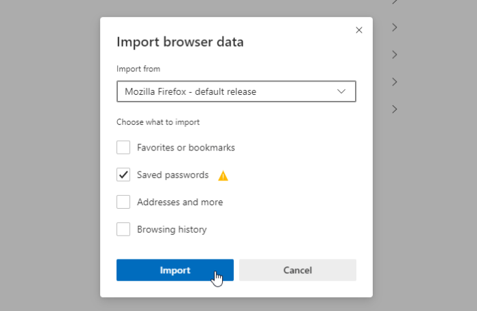 import or export saved passwords from Microsoft Edge